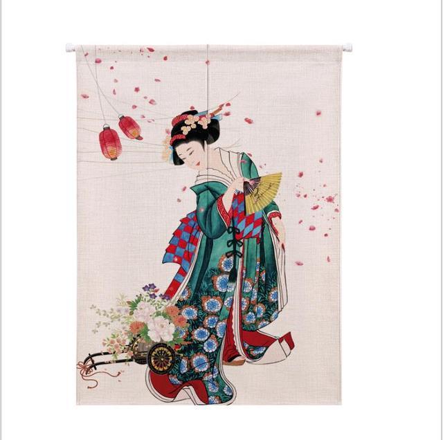 XIAOKENAI Vải Lanh Cotton Màn Nửa Màn Nhà Bếp Nhật Bản Phòng Ngủ Trang Trí Nhà Phân Vùng Màn Rèm Nhà Tắm