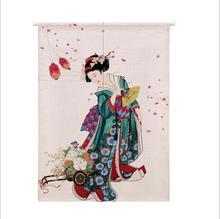 XIAOKENAI cortina de lino y algodón, media altura, cocina japonesa, dormitorio, hogar, partición decorativa, cortina de baño