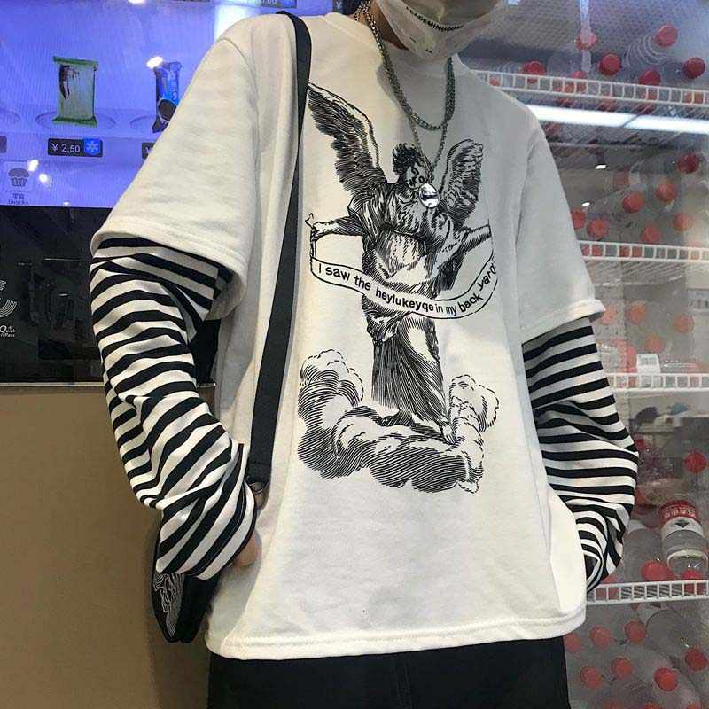 NiceMix Lente Harajuku Tshirt Vrouwen Patchworked Print Gothic Lange Mouw T-Shirt Vrouwen Koreaanse Kleding Sudadera Para Mujer