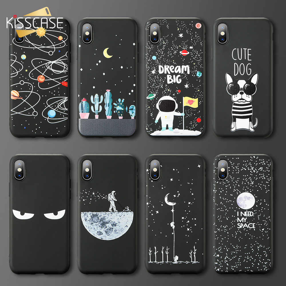 KISSCASE Funny Space Moon Astronaut Phone Case For Huawei Mate 20 Lite P20 P30 Pro Honor 7X 8X 9 10 Lite Nova 3 3i Y5 2018 Cover