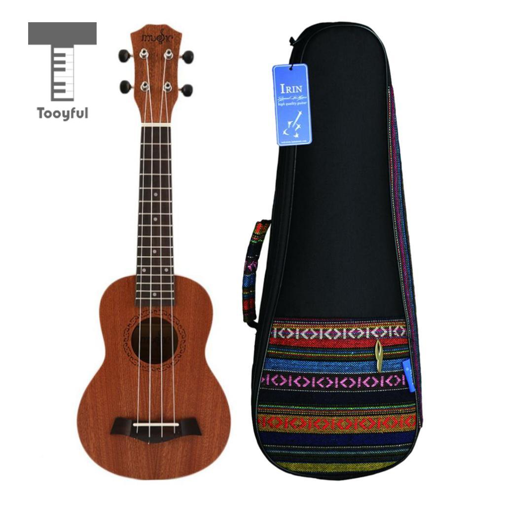 Tooyful 21 inch Soprano Ukulele Hawaii Guitar 4 Strings with Gig Bag Wood Musical Instrument Tuner Strap for Beginner цена