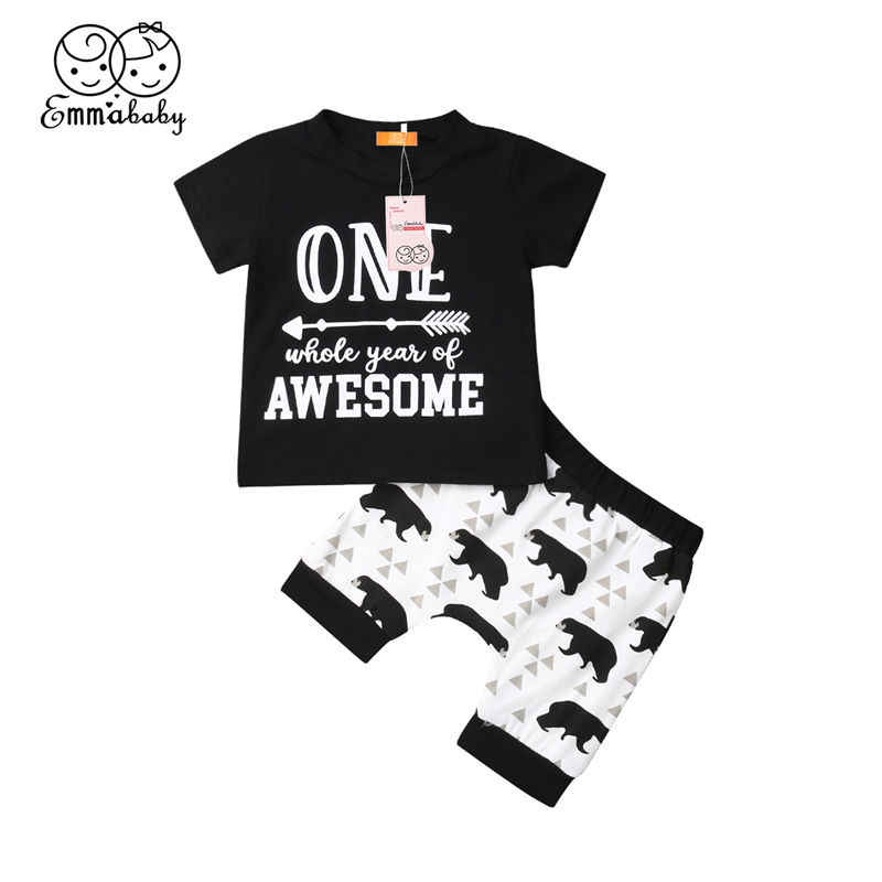 d536f4f233aee Toddler Baby Boy Clothes Set Newborn Kid Outfit My First Birthday T ...