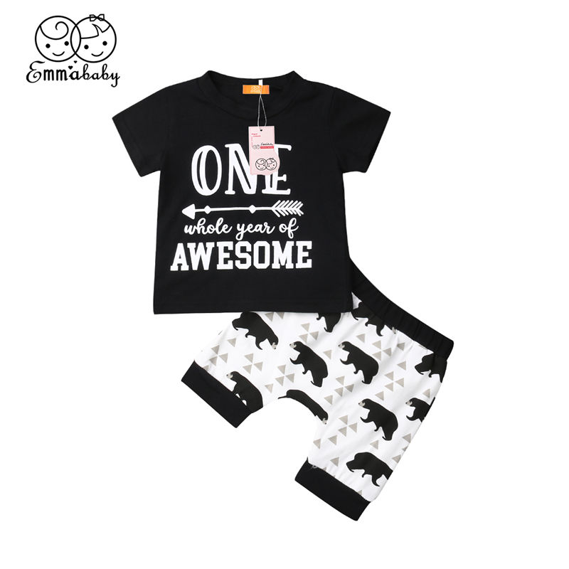 Detail Feedback Questions About Toddler Baby Boy Clothes Set Newborn Kid Outfit My First Birthday T Shirt Cute Bear Harem Pants Infant Summer Clothing