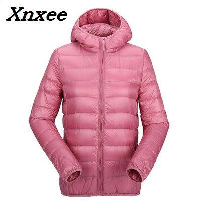 Women ultra light coat duck warm jacket hooded fall female overcoat slim solid jackets winter coat outwear   parkas   Xnxee