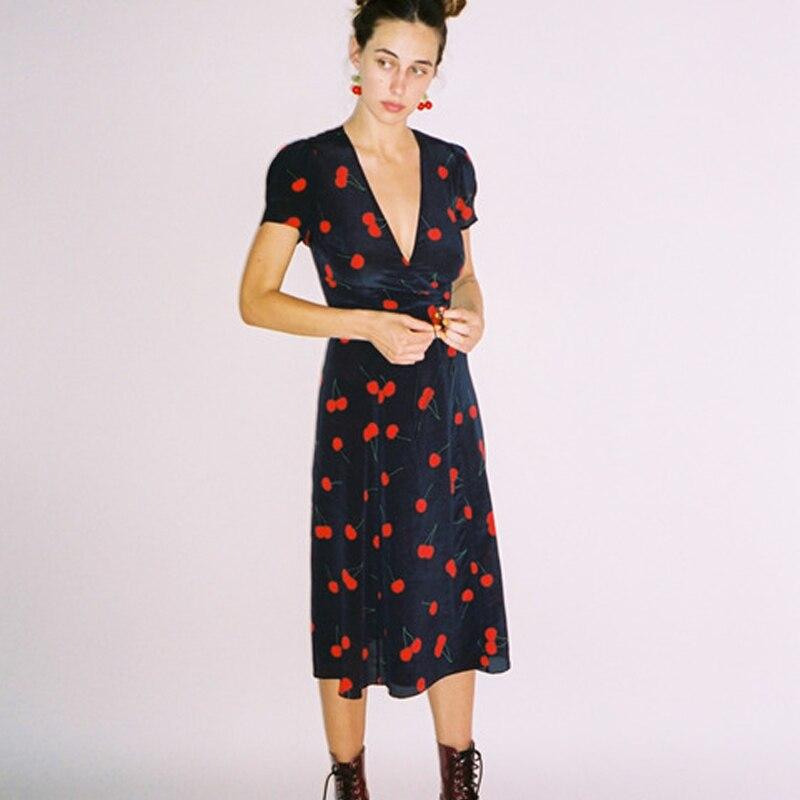 Женское платье с глубоким v образным вырезом на Тил дикая вишня платье с запахом регулируемый галстук ленточка и с буффами на рукавах