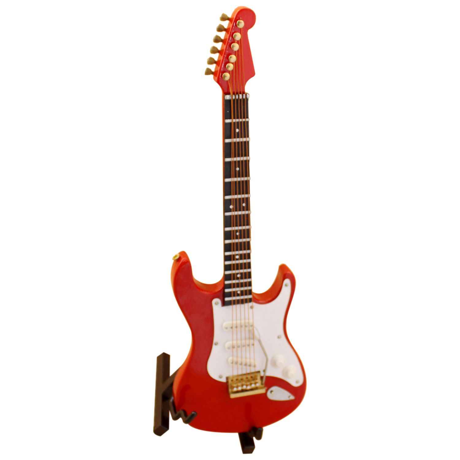 LLY 1:12 Dollhouse Wooden Miniature Music Electric Guitar Red Mini Instrument Toy for Doll House Decor