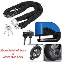 6mm 100dB Motorcycle Bicycle Scooter Anti theft Alarm Security Disc Brake with 65cm Chain Lock Universal
