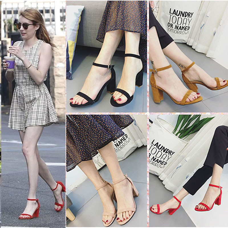 2019 High With Sandals Woman Coarse With Fish Mouth Buckle Toe Leisure Women's Shoes