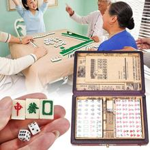 144 Tiles Mah-Jong Set Funny Chinese Traditional Mahjong Card Games Stress Relief Toys Portable with Box for Party Family