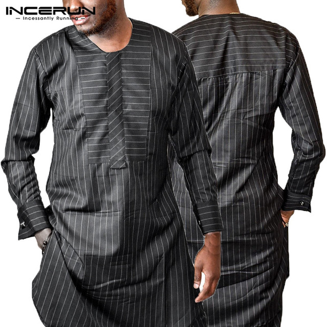 INCERUN Striped NEW Mens Shirts Dashiki Dress Robe Kaftan Tops Long Sleeves  Black T-shirt Kenya Nigeria Fashion Africa Clothing fc2012919