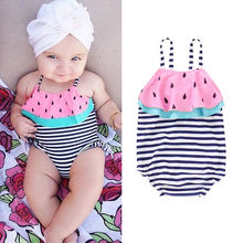Baby Girls Swimsuit Kids Striped One Piece Suits Swimwear  Ruffles Bathing Suit Swimming Costume kids swimming suit baby clothes swimwear girls summer bathing suits 2018 children one swimsuit 23 movement dress solid polyester