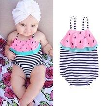 Baby Girls Swimsuit Kids Striped One Piece Suits Swimwear  Ruffles Bathing Suit Swimming Costume