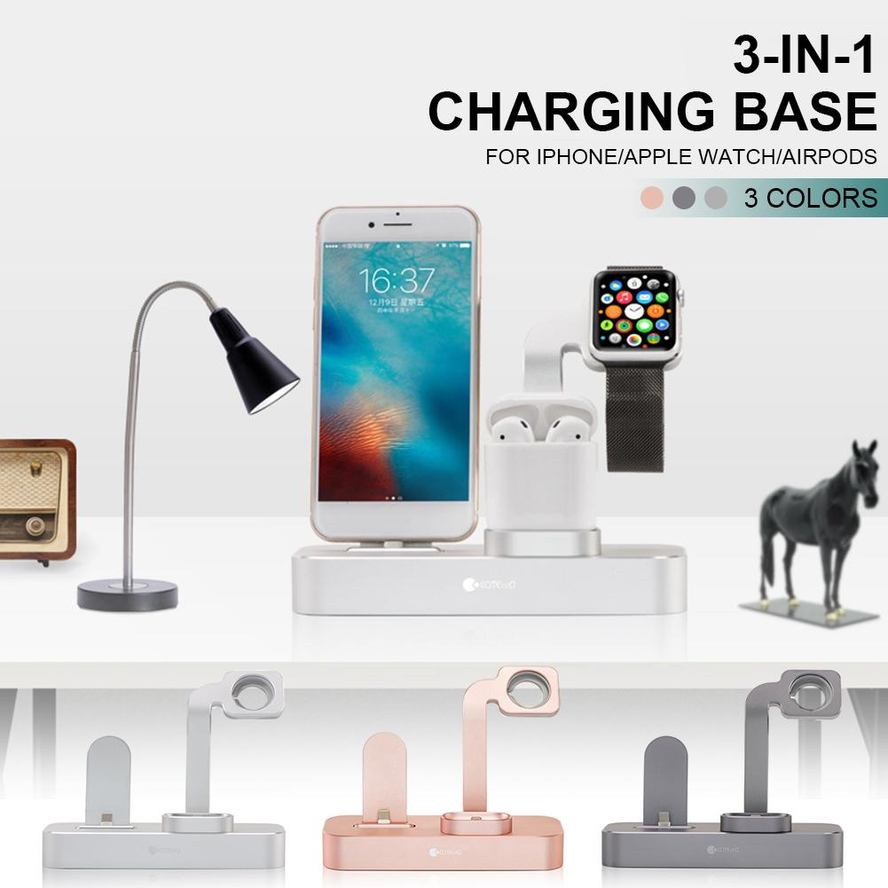 3-in-1 Charging Base Stand Aluminum Alloy Wireless Fast Charger For IPhone Apple Watch AirPods3-in-1 Charging Base Stand Aluminum Alloy Wireless Fast Charger For IPhone Apple Watch AirPods
