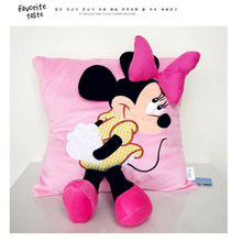 Disney 38X34 CM 3D Disney Dibujos Animados Rosa Minnie azul Mickey funda de almohada relleno cumpleaños regalo lavable Pillowcas(China)