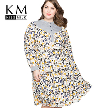 Kissmilk Fit And Flare Mixed Print Party Autumn Bodycon Long Sleeve Floral Dress Elegant Plus Size Casual Sundresses stripe floral print fit and flare dress