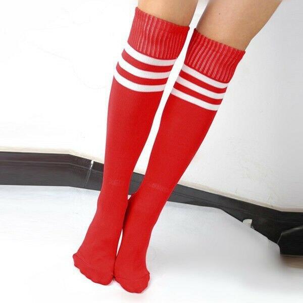 Women Men Unisex Athletic Stripe Sports  Football Running Knee High Tube Sport Socks