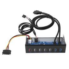 7 портов USB 3,0 концентратор 5Gbs 5,25 «CD-rom привод Bay CD rom Передняя панель для компьютерного корпуса + USB 3,0 19-pin Заголовок к тип-a Мужской кабель