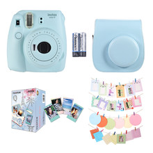 2018 Fujifilm Instax Mini 9 Instant Camera Film Cam +Leather Camera Case+30*Instant Film Photo Paper+Camera Accessories Kit Blue(China)
