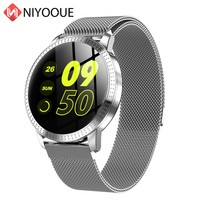 Smart Watch CF18 Waterproof IP67 1.22 Inch Blood Pressure Monitoring Metal Starp Multi Sport Modes SmartWatch Women Band