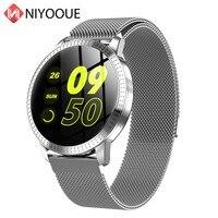 Smart Watch CF18 Waterproof IP67 1.22 Inch Blood Pressure Monitoring Metal Starp Multi Sport Modes SmartWatch Women Band