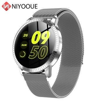 Montre Smart Watch CF18 Étanche IP67 1.22 pouce Surveillance de la Pression Artérielle En Métal Starp Multi Sport Modes SmartWatch Femmes Bande