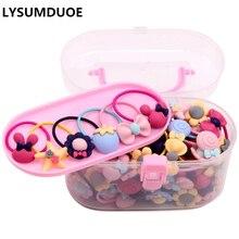 40 unids/lote accesorios para el cabello para niñas caja de regalo bandas elásticas para el cabello con pinza de flores lazos para el cabello los niños