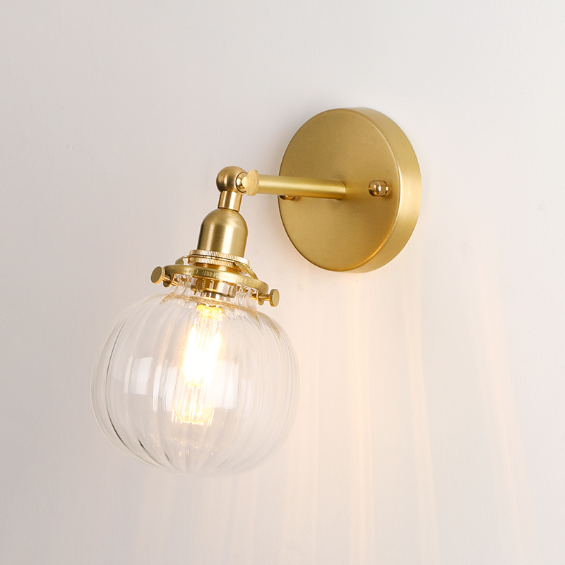 EL Brass Wall Lamp with Pumpkin Glass shape Rotation Angle 270 Degree up and down for Bedroom Livingroom Indoor Lighting