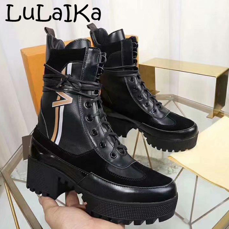 2019 Spring New Classic Brand embroidery Lady Solid Color Shoes Fashion Lace-Up Round Head Thick Bottom Boots Woman High Heels2019 Spring New Classic Brand embroidery Lady Solid Color Shoes Fashion Lace-Up Round Head Thick Bottom Boots Woman High Heels