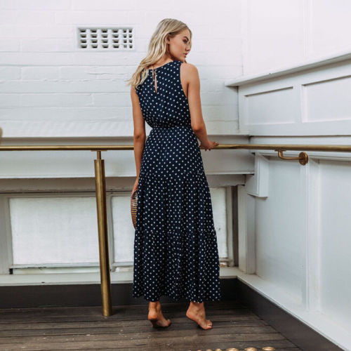 2019 Bobo Women Dark Blue Boho Loose Sleeveless Holiday Dot Print Long Maxi Dress Evening Party 2019 Bobo Women Dark Blue Boho Loose Sleeveless Holiday Dot Print Long Maxi Dress Evening Party Beach Dresses Summer Sundress