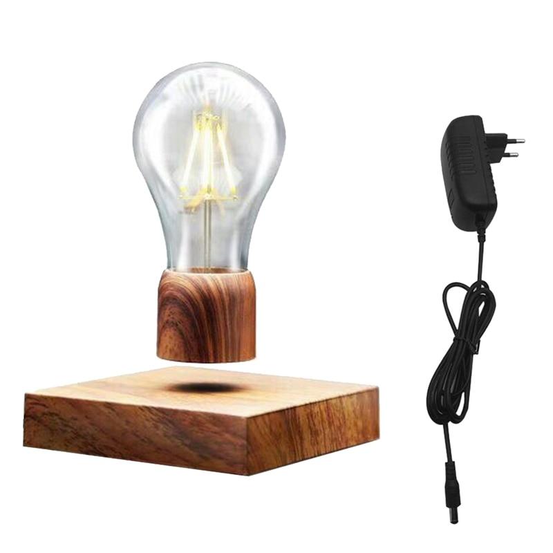 Eu Plug Vintage Magnetic Floating Lighting Bulb Wood Color Base Led Lamp Home Decoration For Living Room Bedroom BedsideEu Plug Vintage Magnetic Floating Lighting Bulb Wood Color Base Led Lamp Home Decoration For Living Room Bedroom Bedside