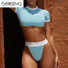 a4d48ce54b566 Belleziva Sexy High Waist Swimwear Women T-Shirt Style Sport Swimsuit 2pcs Beachwear  Female High Neck Bathing Suit Thong Bathers