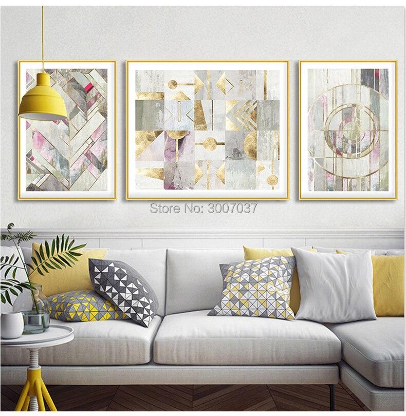 100% Handgemalte Moderne Abstrakte Ölgemälde Hause Wand Kunst Leinwand Set Gold und Grau Farbe Kunstwerk Für Wohnzimmer decor - 4
