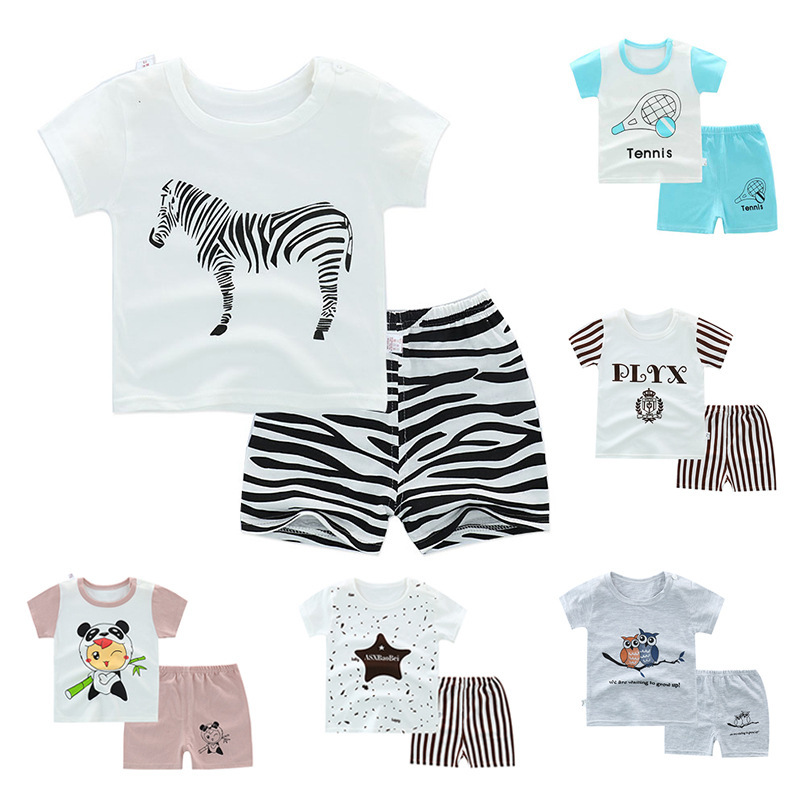 New Boys Garments Units Summer time Pure Cotton Cartoon Youngsters 2Pcs Swimsuit Quick Sleeve Print O-Neck T-shirt+quick Women Clothes Set Clothes Units, Low-cost Clothes Units, New Boys Garments Units...