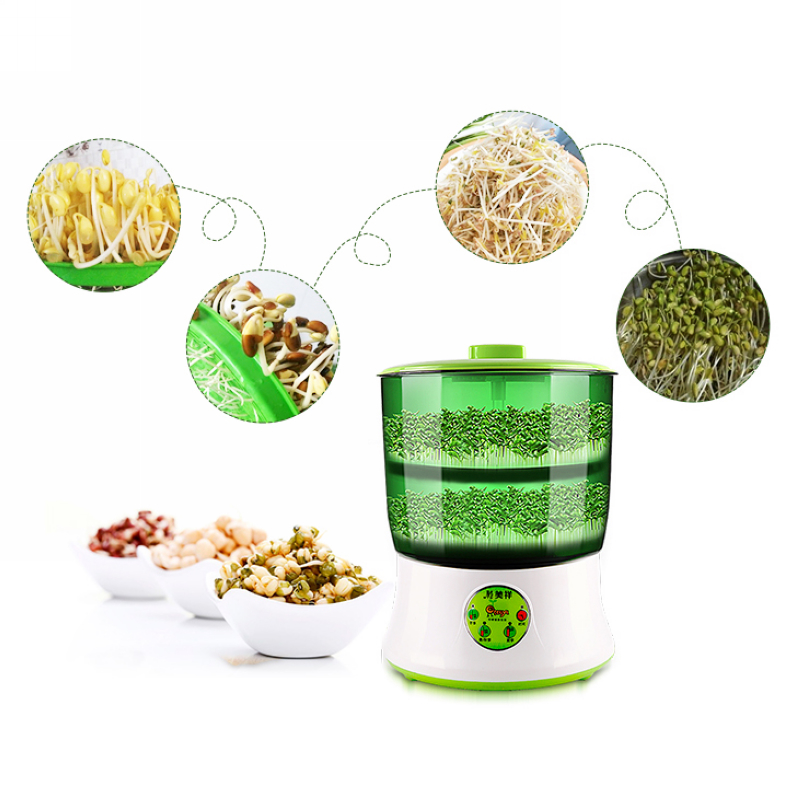 110V Automatic Bean Sprouts Machine Multi functional Double Layer Homemade With Conversion Plug