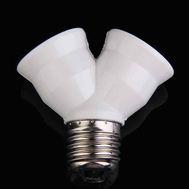 E27 Socket Base Extend Splitter Plug LampHolder Bulb Holder Dual Double Halogen Light Lamp Copper Contact Adapter Converter tool