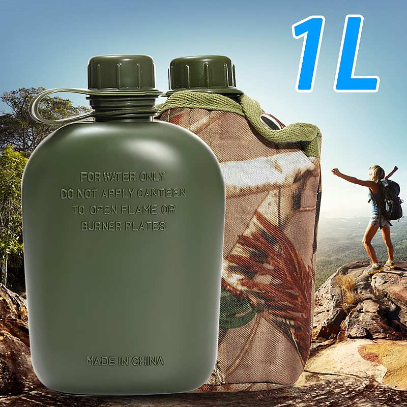 1L Military Camping Army Water Bottle Cup Pouch for Camping Hiking Desert Survival Climbing Accessories