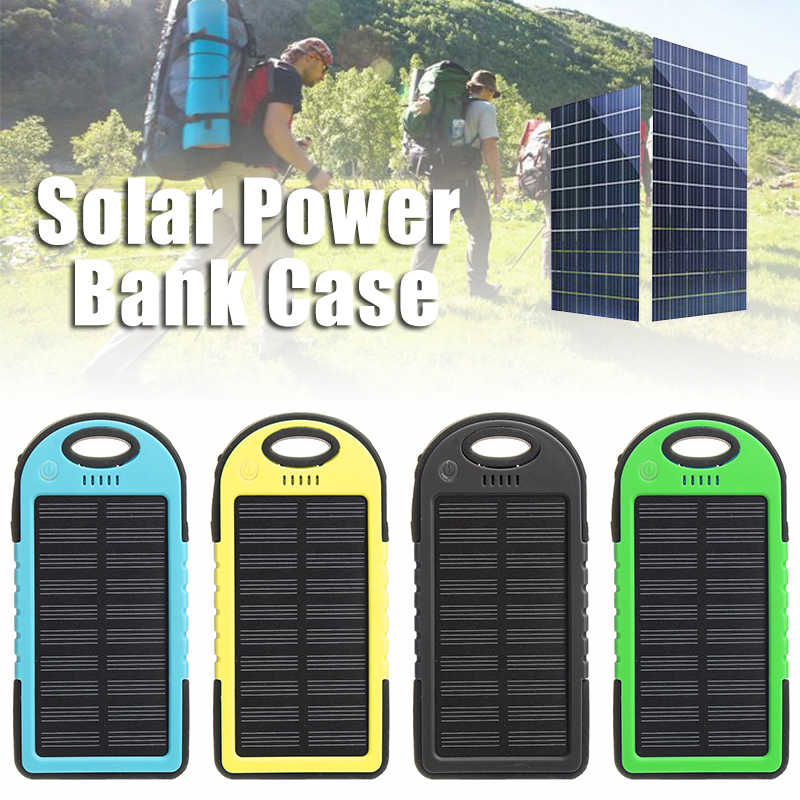 Efficient solar panel Portable 5000mah Dual 2 USB Solar Power Bank Battery  Case Cover Cell Phone 4cba3f76cb8b