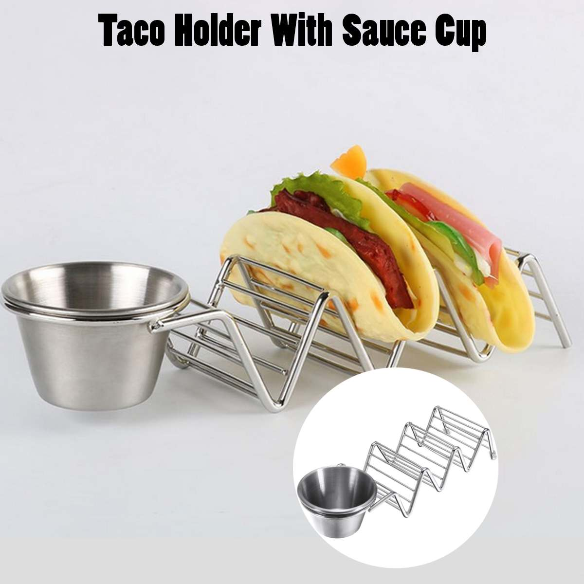 3 Slot Tortilla Rack Stainless Steel Wave Shaped Taco Display Stand Up Holder Rack With Sauce Dish Party Pie Pizza Baking image