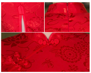 Image 5 - SHENG COCO Womens Red Chinese Traditional Dresses Thin Short Jacquard Cotton Cheongsam Chinese Style Maam Marry Qipao Chinese