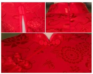 Image 5 - Sheng coco vestidos tradicionais chineses vermelhos, fina, curta, de algodão, cheongsam, estilo chinês maam marry, qipao