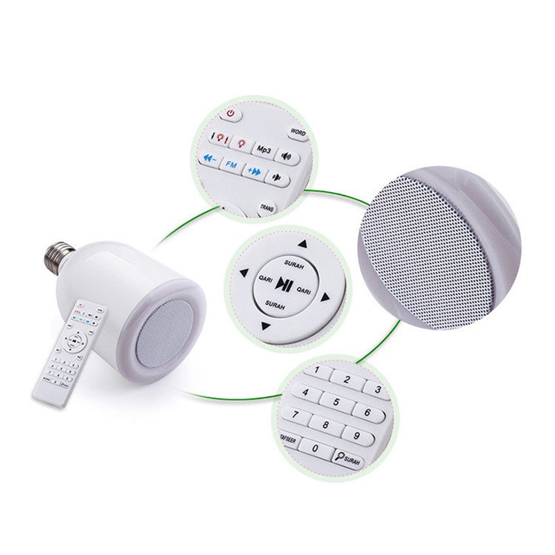 Led Quran Digital Bluetooth Speaker Lamp Light Ramadan Coran Player Muslim  Mp4 8Gb E27