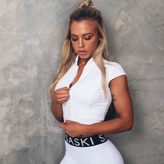 White Jersey Yoga Sports T-Shirt