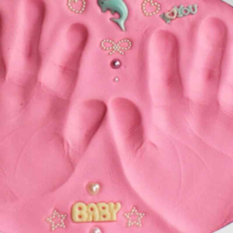 Baby Handprint Slime Soft Modeling Clay Air Drying Play Light Clay Toys Polymer Plasticine Footprint Imprint Kit DIY Toy
