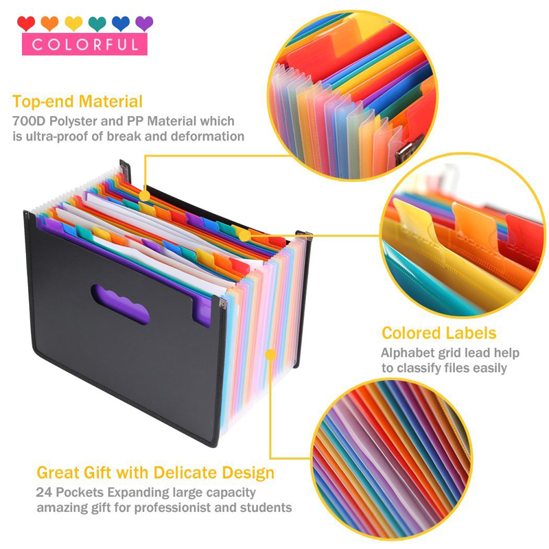 24 Pockets Foldable A4 Paper File Folder Expanding Gusset Bag Pouch Document Holder Organizer Desktop Office