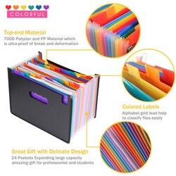 24 bolsos dobráveis a4 arquivo de papel pasta expansão gusset saco bolsa titular do documento organizador desktop escritório