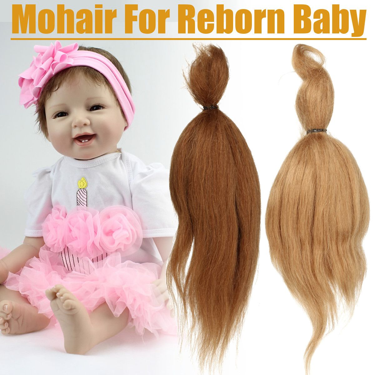 15g Pure Mohair For Reborn Baby Doll Hair With Dark Brown/Gold Color Fit For DIY Reborn Baby Doll DIY Doll Accessories For Kid