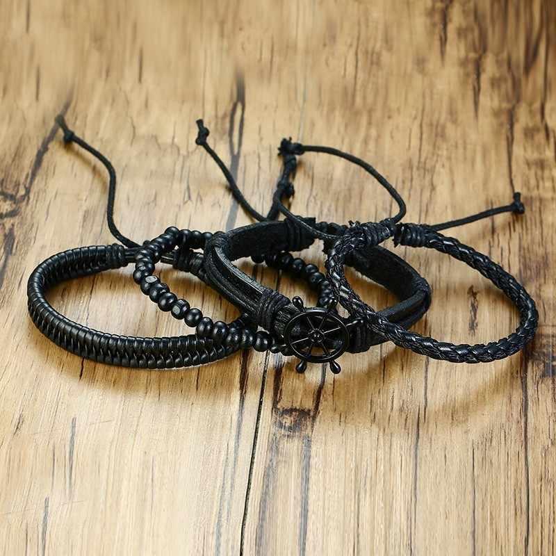 Vintage liny pleciony wielowarstwowe skórzane bransoletka z drewna zroszony statku steru Punk dorywczo mężczyzna opaski na rękę regulowana długość