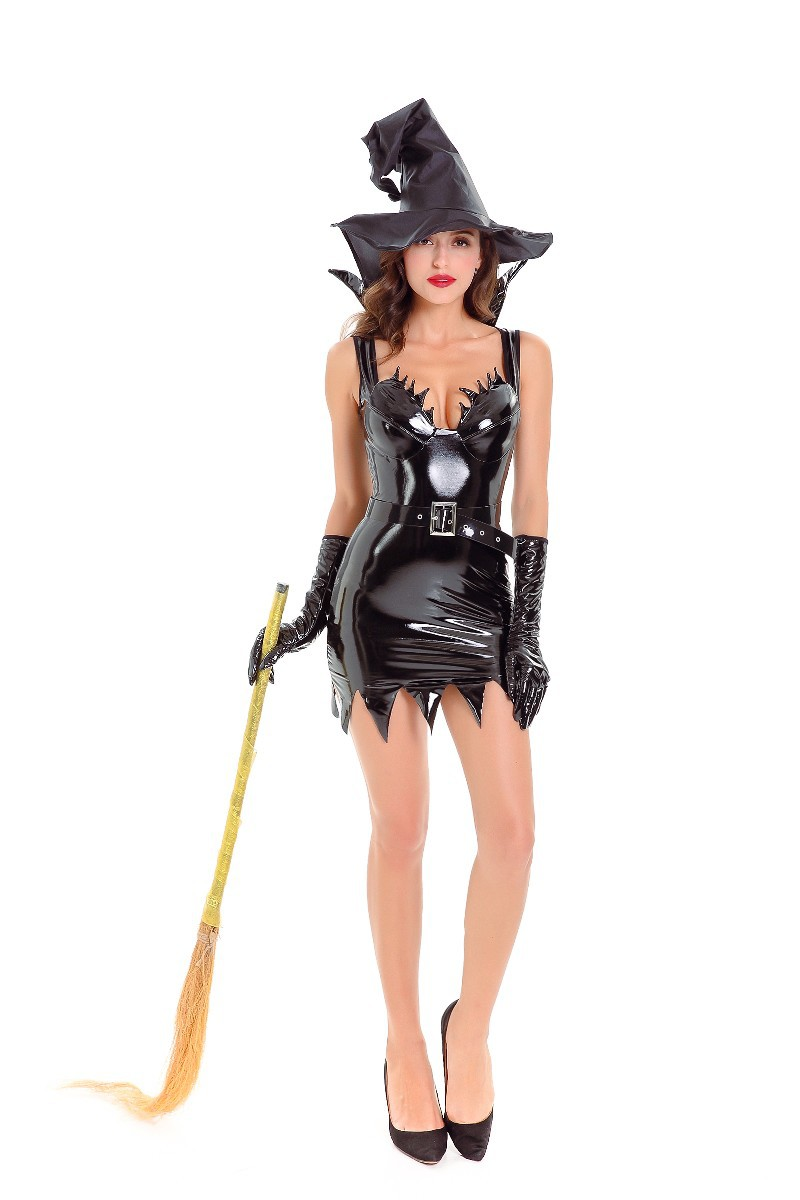 Womens Liquid Black Evil Witch Costume Wet Look PVC Faux Leather Slim Sling Dresses Halloween Cosplay Fancy Dress