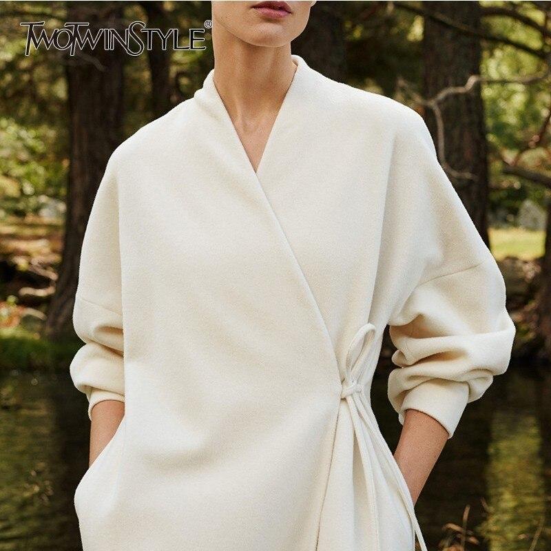 TWOTWINSTYLE Autumn Winter Cashmere Coats Female V Neck Long Sleeve Lace Up Black Overcoats Women 2019 Casual Fashion Oversized