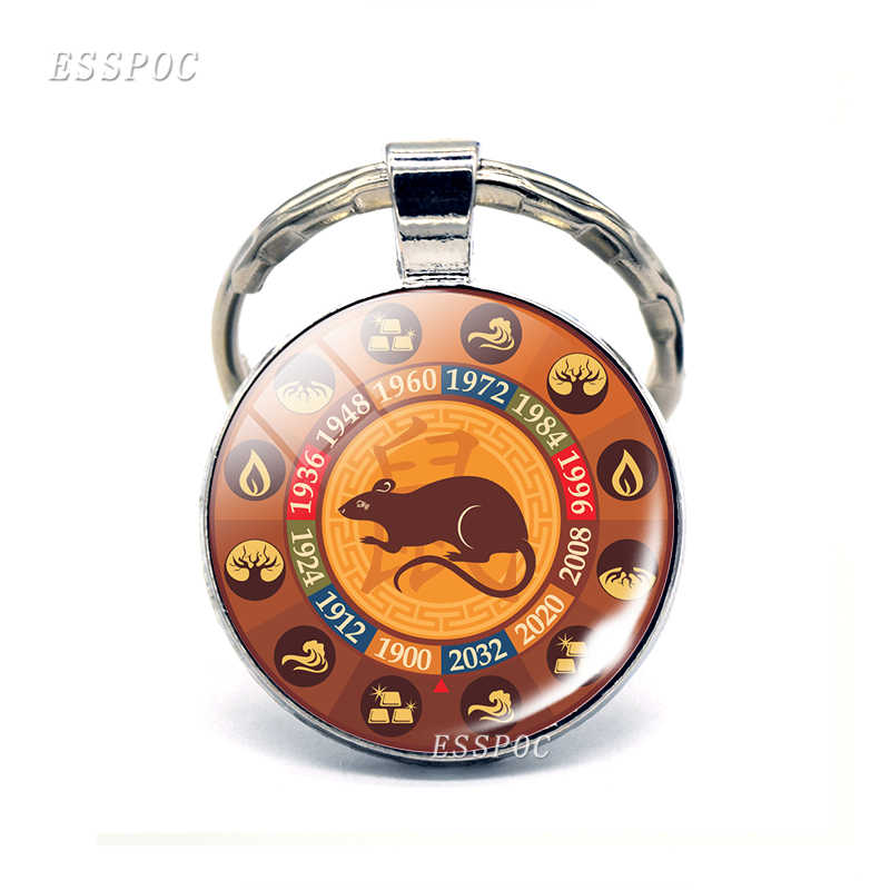 12 signo do zodíaco foto chaveiro rato boi pingente de vidro cabochão jóias moda constelação chaveiro carro chaveiro feminino melhores presentes